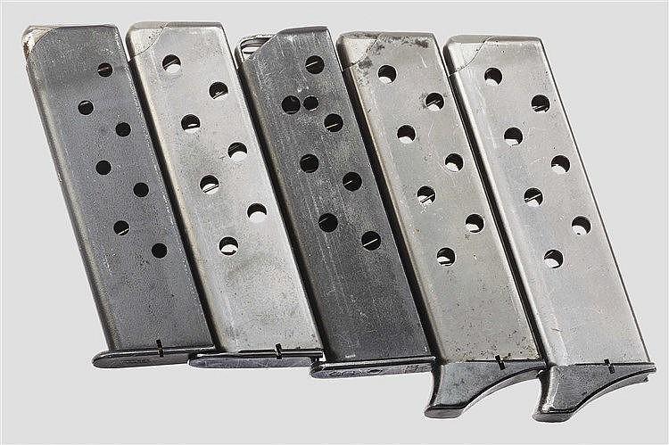 Fünf Pistolenmagazine Mauser und S & S