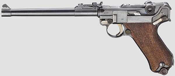 Lange Pistole 08, DWM 1917, mit Brett und Tasche