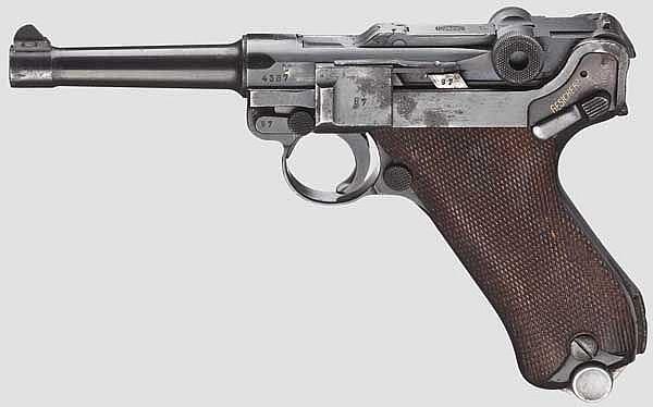 A Pistol 08, Mauser Banner 1940, with holster, Schutzpolizei