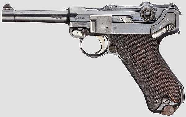 Pistole 08, DWM 1916, mit Tasche