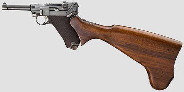 Pistole 08, Erfurt, 1912, ohne Kammerfang, mit Anschlagkasten