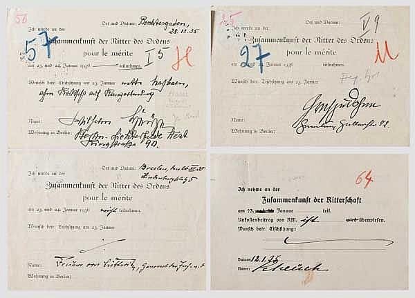 Zusammenkunft der Ritter des Ordens pour le mérite - vier Rückantwortkarten von PLM-Trägern 1935/36