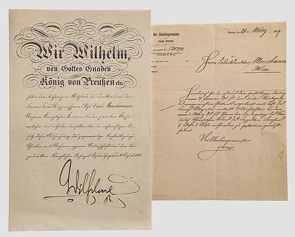 Krupp-Direktor Carl Menshausen - Verleihungsurkunde zum Kronenorden 2. Klasse 1906