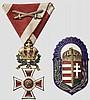 Leopoldsorden - Kreuz der Ritter mit Kriegsdekoration und Schwertern und ungarischer Heldenorden (Vitez-Ritterschild)