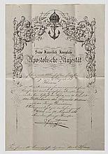 Konteradmiral und Held von Lissa Carl Ritter von Kern - Urkunden und Dokumente