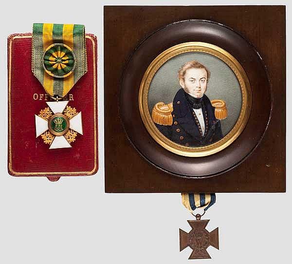 Jan Anne Lycklama à Nijeholt (1809 - 1891) - Portraitminiatur um 1830 und Auszeichnungen