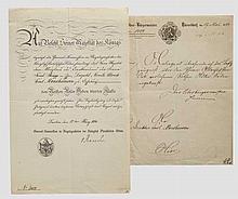 Krupp-Direktor Carl Menshausen - Verleihungsurkunde zum Roten Adler Orden 4. Klasse 1894