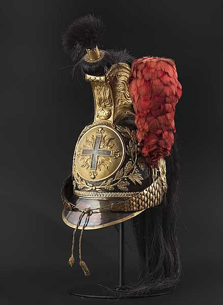 A helmet for enlisted men of the Mousquetaires gris de la Maison du Roi, circa 1814/15