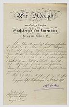 Gustav Graf Kálnoky von Koröspatak - Verleihungsurkunde zum Luxemburg-Nassauischen Hausorden vom Goldenen Löwen 1892