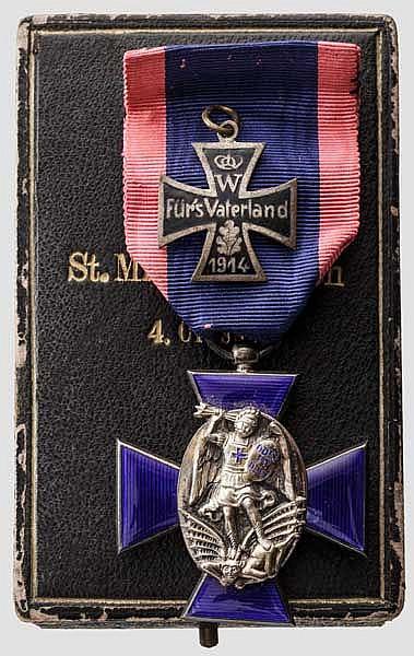 Verdienstorden vom Heiligen Michael - Ordenskreuz 4. Klasse (ohne Krone) in Leser-Fertigung im Etui