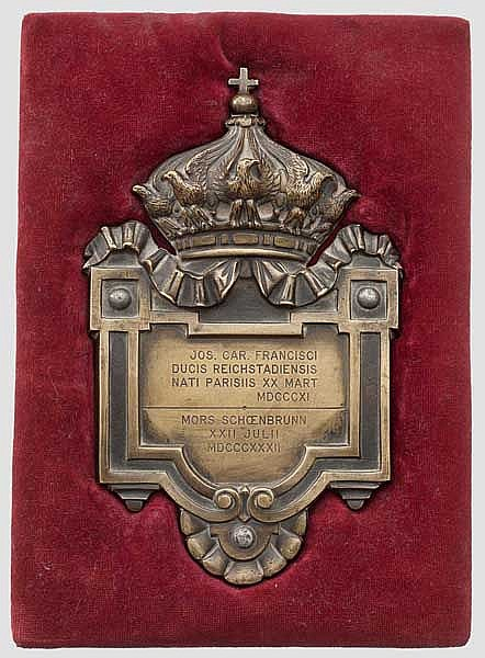 Napoleon II - Roi de Rome (1811 - 1832) – a bronze plaque, allegedly from the sarcophagus in the Dome of Les Invalides 1940
