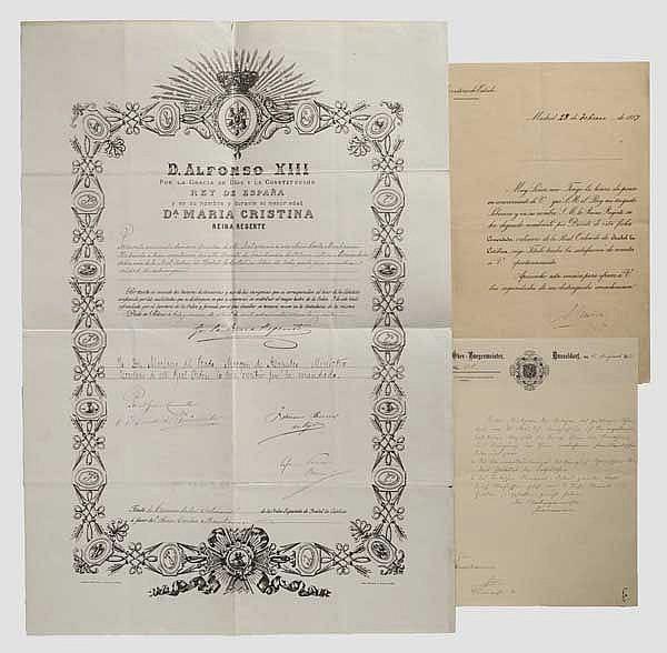 Krupp-Direktor Carl Menshausen - Verleihungsurkunde zum Kommandeurkreuz des Königlich spanischen Ordens Isabel la Católica 1887