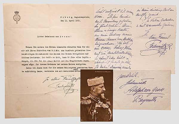 Zar Ferdinand I. (1861 - 1948) - zwei Briefe an Adolf von Gross in Bayreuth