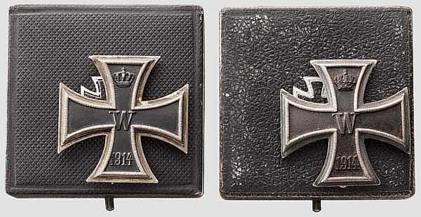 Zwei Eiserne Kreuze 1. Klasse 1914, im Etui