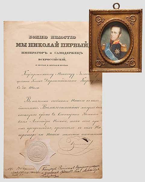 Alexander Newski Orden - Verleihungsurkunde an den Darmstädter Ministerpräsidenten Karl du Thil