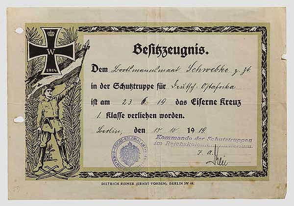 Bootsmannsmaat Schwebke - Verleihungsurkunde zum Eisernen Kreuz 1. Klasse in der Lettow-Vorbeck-Truppe