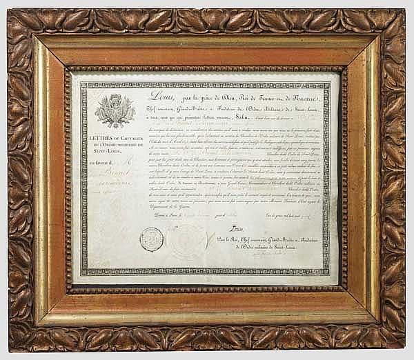 Ludwigsorden - Verleihungsurkunde zum Ritterkreuz 1815