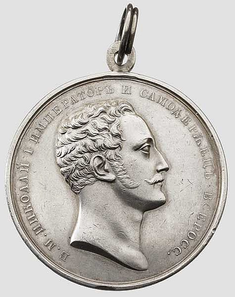 Verdienstmedaille mit Portrait des Zaren Nikolaus I., Russland zwischen 1825 - 1855