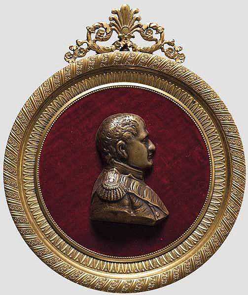 Relief Napoleons in vergoldetem Rahmen, Frankreich um 1810/20