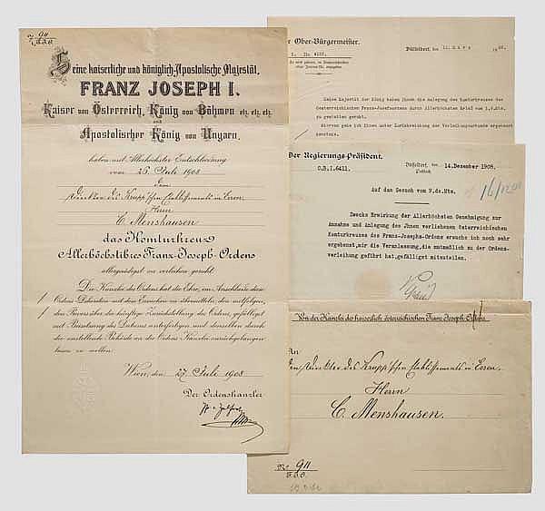 Krupp-Direktor Carl Menshausen - Verleihungsurkunde zum Komturkreuz des Kaiserlich österreichischen Franz-Joseph-Ordens 1908