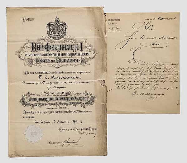 Krupp-Direktor Carl Menshausen - Verleihungsurkunde zum Fürstlich bulgarischen Zivilverdienstorden 3. Klasse 1906