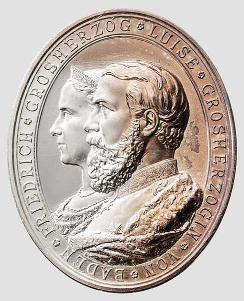 Silberne Hochzeitsmedaile Baden 1856 - 1881