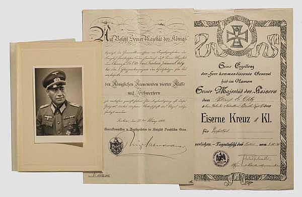 Oberfeldarzt Dr. Otto Ohly - Urkundengruppe Deutsch-Südwestafrika und Weltkriege