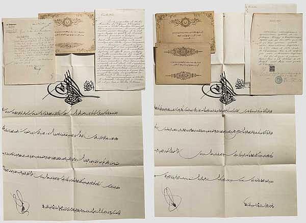 Krupp-Direktor Carl Menshausen - Verleihungsurkunden zu den Auszeichnungen des Kaiserlich türkischen (osmanischen) Reiches