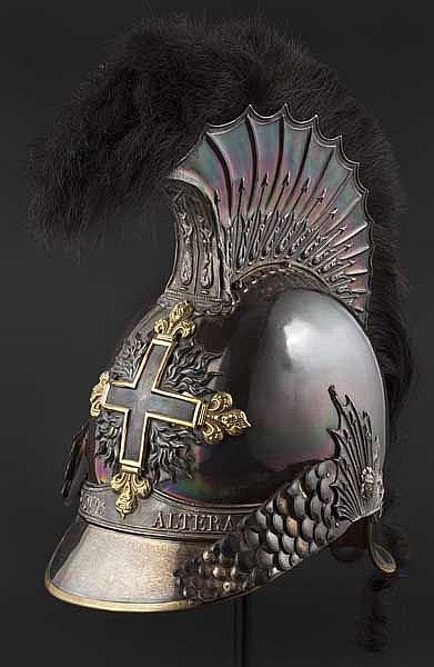 A helmet for elisted men of the Mousquetaires noirs de la Maison du Roi, circa 1814/15