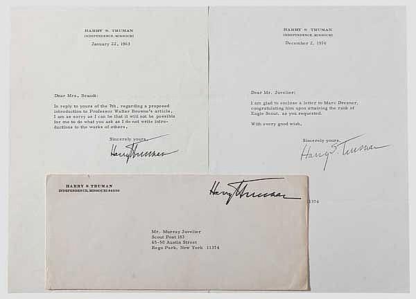 Harry S. Truman (1884 - 1972) - zwei Briefe des 33. Präsidenten der USA aus den Jahren 1963 und 1970