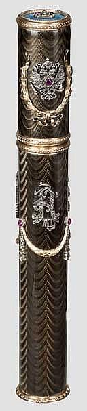 Zigarrenbehälter in Gold und Emaille mit der Chiffre des Zaren Nikolaus II. und Alexander III. Im Stil von Faberge