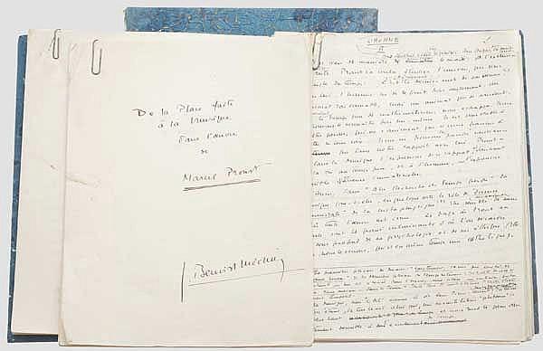Jacques Benoist-Méchin - Original-Manuskript zur Musik im Werk von Marcel Proust