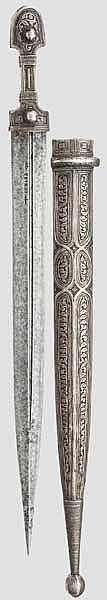 Silbermontierter und niellierter Kinzal, Russland/Kaukasus um 1900
