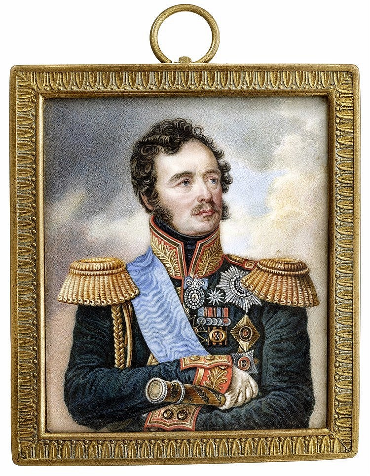 A portrait of the marshal of the Russian Army Count Ivan Feodorovich Paskevich Erivansky (1782 - 1856), Russian ivory miniature - possibly Stanislaw Marszalkiewicz (1789 - 1872), 1st half of the 19th century