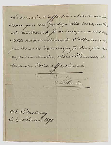 Zar Alexander II. (1818 - 1881) - Brief mit eigenhändiger Unterschrift, Russland, datiert 1870