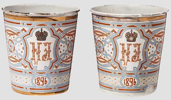 Zwei Krönungsbecher Zar Nikolaus II. von 1896