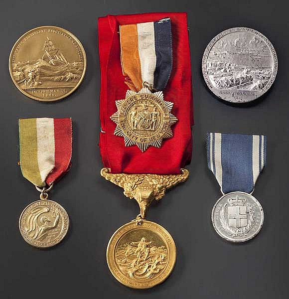 Captin Harry Manning (1897 - 1974) - Gold Life Saving Medal and other awards for rescuing the crew of the