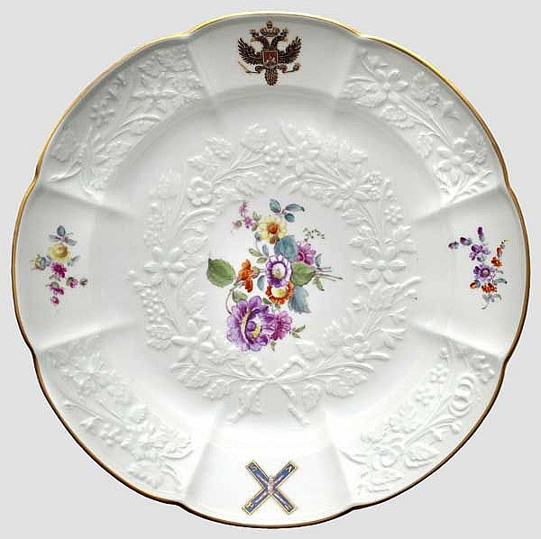 An important plate from the Russian St. Andrew service by porcelain maker Meissen, 18th/19th century