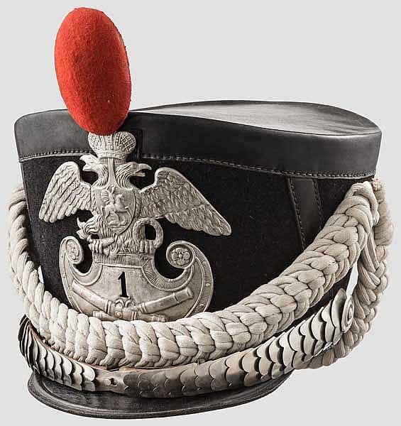 Tschako für Mannschaften der Artillerie um 1830 als Sammleranfertigung