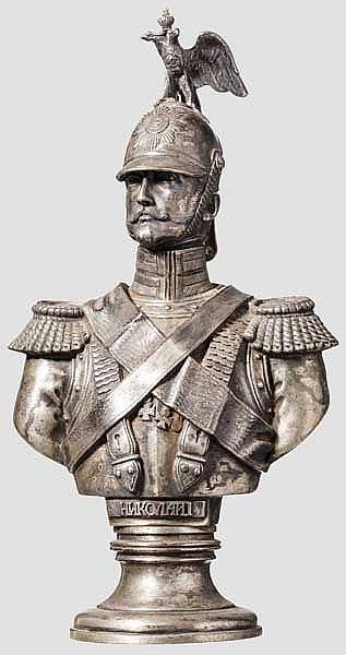 Silberbüste Zar Nikolaus I. (reg. 1825 - 1855), nach Friedrich A.T. Dietrich