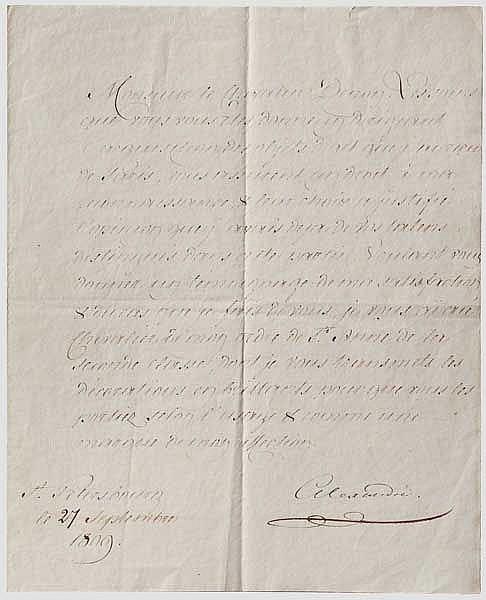 Zar Alexander I. (1777 - 1825) - Brief mit eigenhändiger Unterschrift, Russland datiert 1809