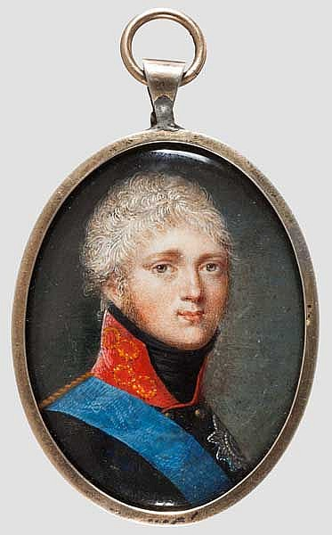 Miniatur-Portrait des Zaren Alexander I., Russland, 1. Viertel 19. Jhdt.