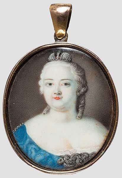 Portrait der Zarin Elizaveta Petrovna (1709-62), Miniatur auf Elfenbein, Russland, Mitte 18. Jhdt