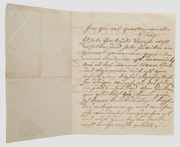 Tsarina Ekaterina II (1729 - 1796) - a handwritten letter to her Quartermaster General Count von Elmpt