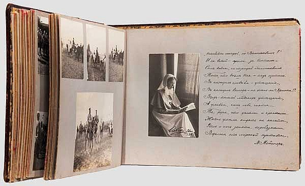 Grand Duchess Olga Alexandrovna Romanova (1882 - 1960) - a photograph album of the 12th Achtyrsky Hussar Regiment, Russia, dated 1914