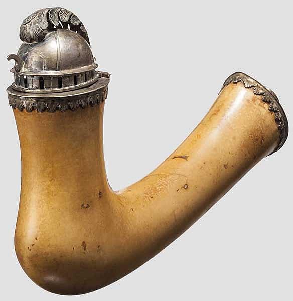 Silbergefasster Meerschaumpfeifenkopf aus der Regierungszeit von Kaiser Franz I. (1804 - 1835)