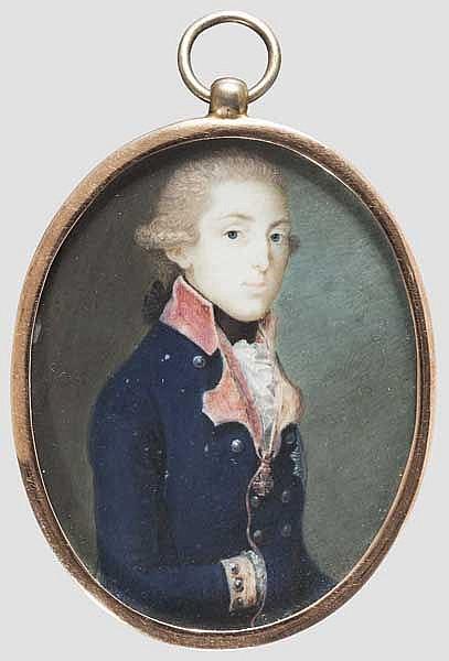Miniatur-Portrait eines Offiziers vermutlich mit St. Anna-Orden, möglicherweise Russland, Anfang 19. Jhdt.