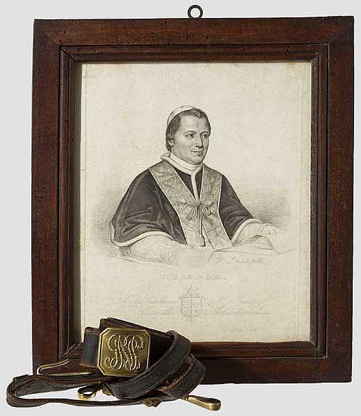 Portrait Papst Pius IX. und ein Gehänge der Guardia Nobile, 19. Jhdt.