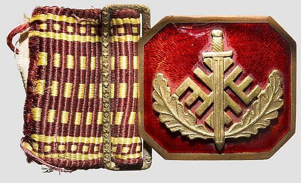 Feldbindenschloss für Offiziere der freiwilligen paramilitärischen Vereinigung Aizsargi bis 1940