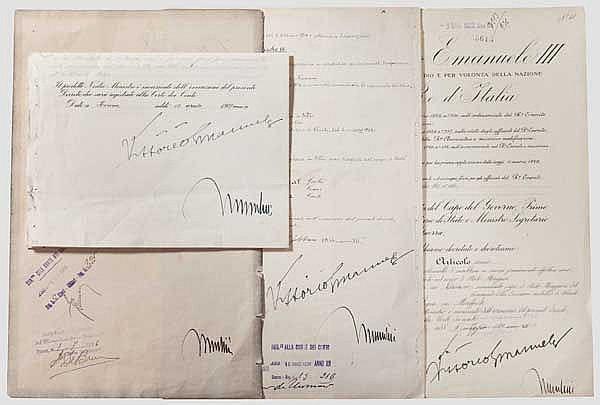 König Vittorio Emanuele III. und Benito Mussolini - vier Dekrete 1926 - 1937